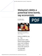 Malaysia's Debts a Potential Time Bomb, Say Economists - The Malaysian Insider