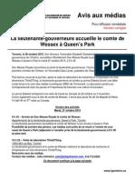 La lieutenante-gouverneure accueille le comte de Wessex à Queen's Park