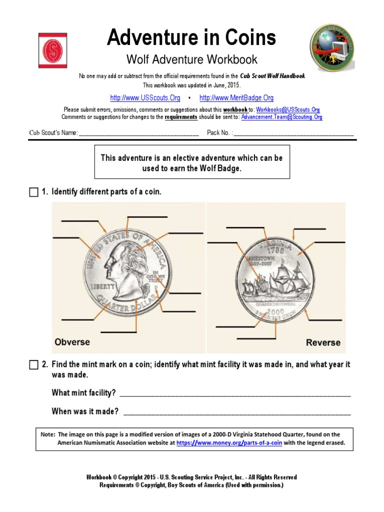 Workbooks usscouts org merit badge worksheets : adventure-in-coins | Boy Scouts Of America | Child Related ...