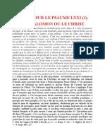 Saint Augustin - Discours sur les psaumes - Ps 71 Le Vrai Salomon Ou Le Christ
