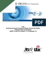 Physical Layer Procedures(3GPP TS 36.213v110700p)