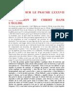 Saint Augustin - Discours sur les psaumes - Ps 87 La Passion Du Christ Dans l'Église