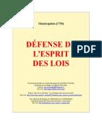 Montesquieu,Charles de Segondat - Défense de l'esprit des lois