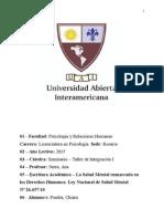 Monografia Ley de Salud Mental Nº 26657/10 - Argentina