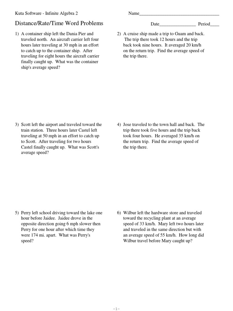 distance rate time word problems Speed