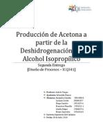 Producción de Acetona a Partir de Deshidrogenación de Alcohol Isopropílico
