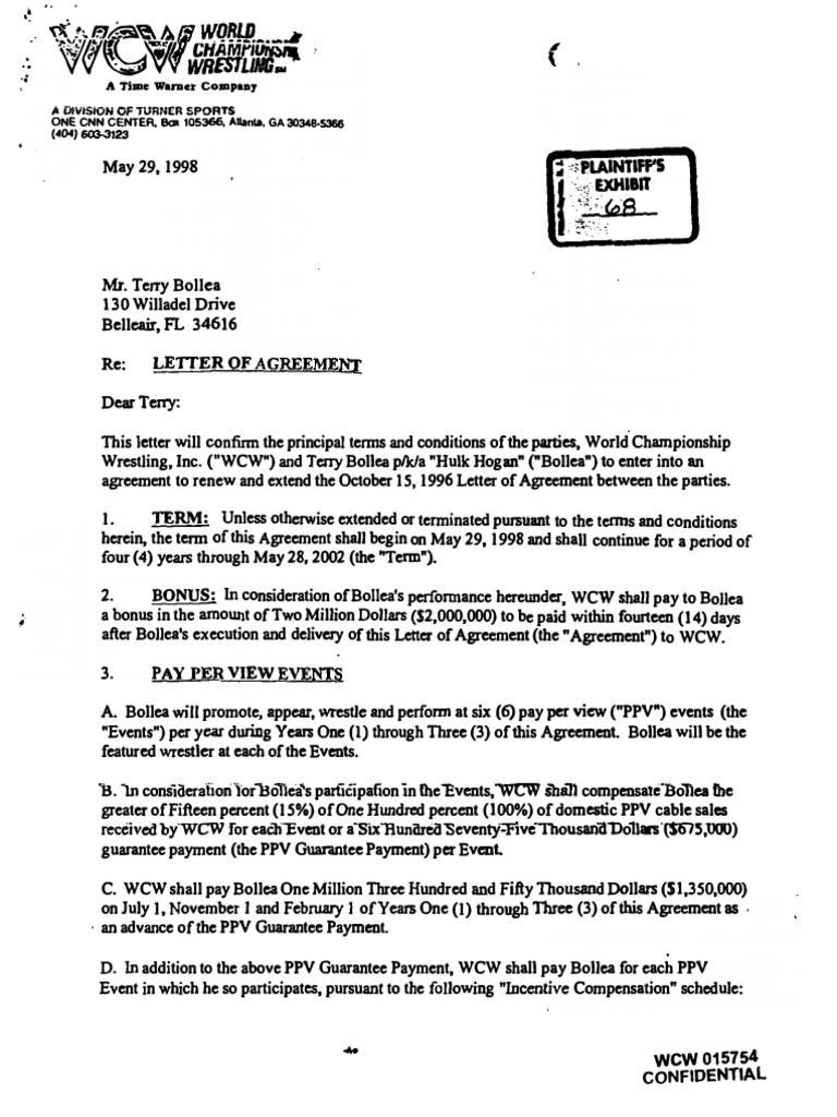 1998 hulk hogan contract with wcw