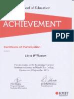 beginning teachers seminar certificate