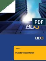 BDO Investor Presentation 2015Q1