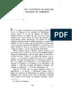 El Pensamiento Autentico De Bolivar Sobre El Regimen De Gobierno
