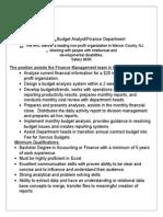 Budget Analyst/Finance Dept