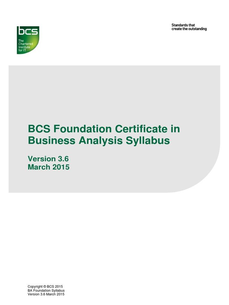 Ba Foundation Syllabus Business Analysis Strategic Management