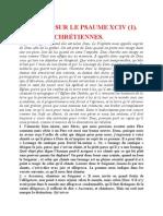 Saint Augustin - Discours sur les psaumes - Ps 94 Les Joies Chrétiennes