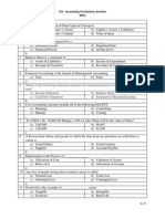 MCQ for accounting of business management