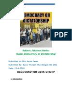Democracy vs Dictatorship in Pakistan