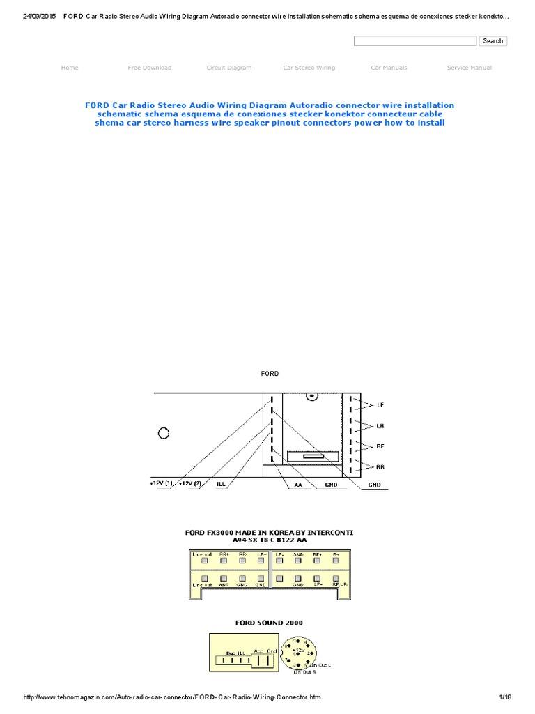 Ford Car Radio Stereo Audio Wiring Diagram Autoradio Connector Wire Harness Plug Connectors Installation Schematic Schema Esquema De Conexiones Stecker Konektor Connecteur Cable