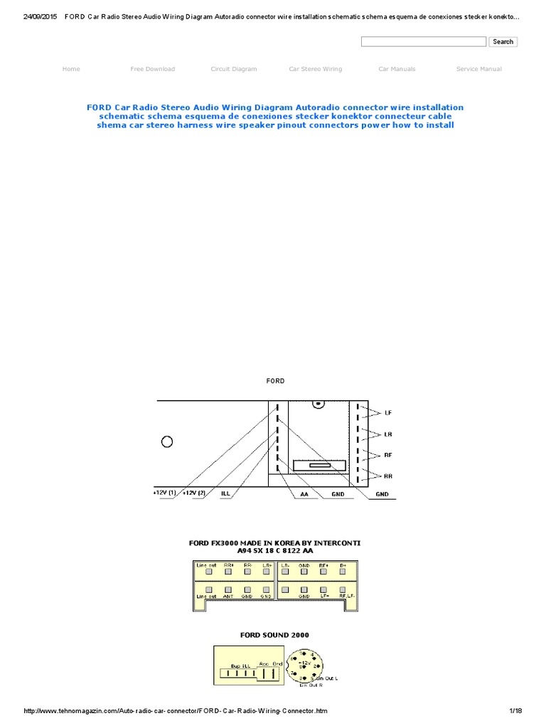 ford car radio stereo audio wiring diagram autoradio connector wire  installation schematic schema esquema de conexiones stecker konektor  connecteur cable