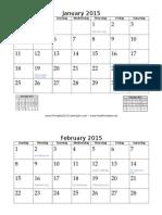 2015 Calendar Mini Month
