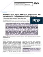 Municipal solid waste generation, composition, and management in the Douala municipality, Cameroon
