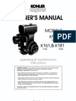 Kohler Engines MODELS K91 (4 hP) Kl6l ,& Kl81 (7 hP) (8 hP) Owners Manual