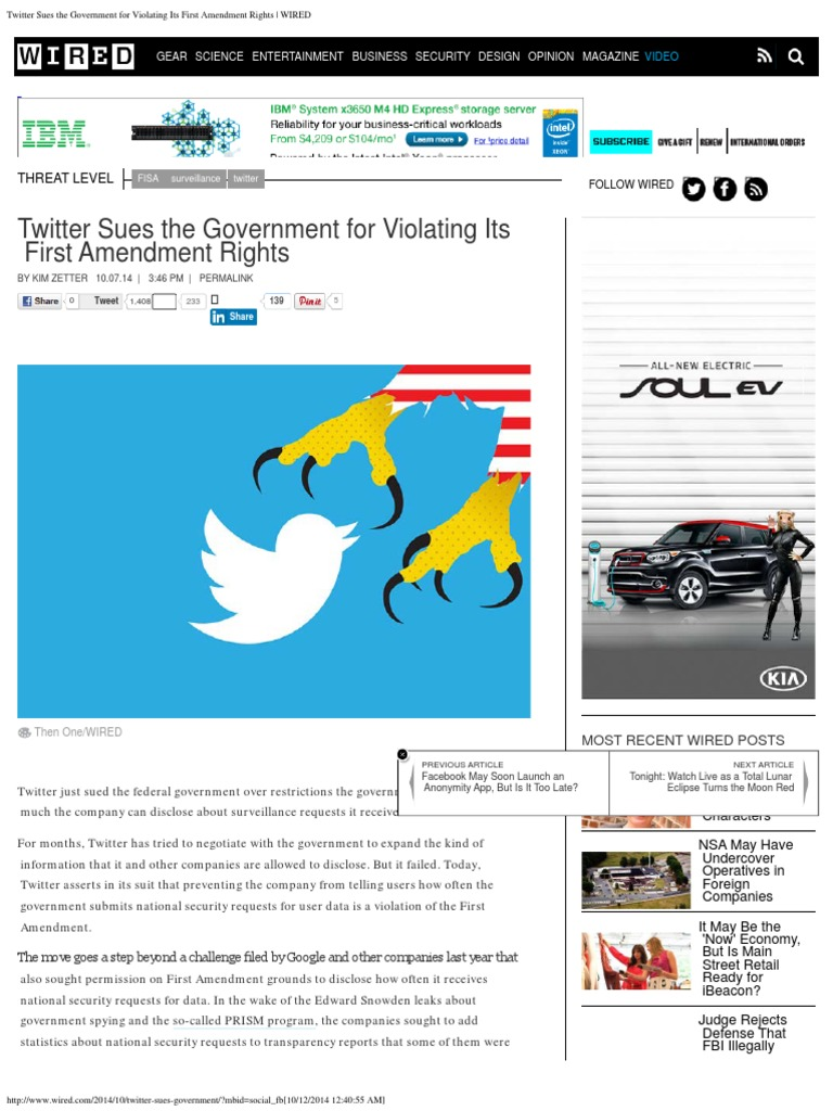 Twitter Sues the Government for Violating Its First Amendment Rights ...