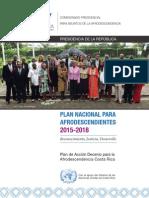 Plan Nacional de La Afrodescendencia 2015 - 2018 Costa Rica
