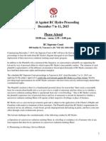 Lawsuit Against BC Hydro Proceeding