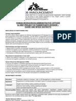 Job Vacancy HR Officer 15032010