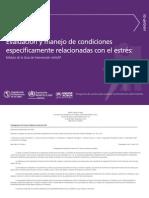 Evaluación y Manejo de condiciones específicamente relacionadas con el estrés