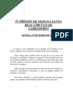 IV PREGÓN DE SEMANA SANTA