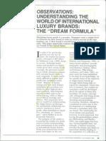 Understanding the World of International Luxury Brands- The 'Dream Formula' - Dubois, Paternault 1995