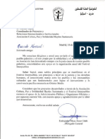Carta de apoyo a Festival Interpueblos del Embajador de Palestina en España