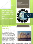 Issues in Contemporary Society- The effect of globalization on the environment