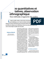 Enquetes Quantitatives et Qualitatives Observation Ethnographique