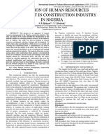 EVALUATION OF HUMAN RESOURCES MANAGEMENT IN CONSTRUCTION INDUSTRY IN NIGERIA