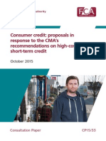 Payday Lending FCA Consultationcp 15 33 Cma Remedies