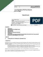 ABPE E003-1998 - Tubos de Polietileno PE Para Ramais - Especificação