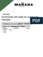 10-28-2015 Invertirán 215 Mdp en Centro de Energía