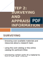 Surveying and Appraising Information