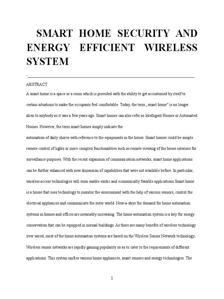Energy Efficient Smart Home Based on Wireless Sensor Network (1 ...