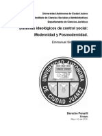 Sistemas Ideológicos de Control Social Modernidad y Posmodernidad.