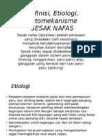 Definisi, Etiologi, Patomekanisme Sesak Nafas PPT