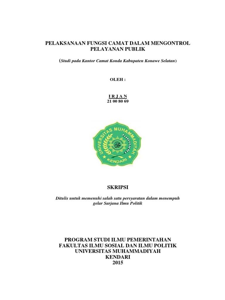 Skripsi Ilmu Pemerintahan Umk Kendari