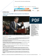 Santos Urge a Las FARC a Firmar Pronto El Cese Bilateral Del Fuego