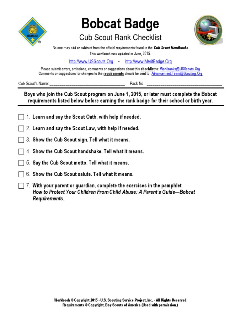 Workbooks usscouts org merit badge worksheets : bobcat-badge | Boy Scouts Of America | Organizations Of Children
