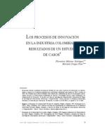Los Procesos de Innovacion en La Industria Colombiana