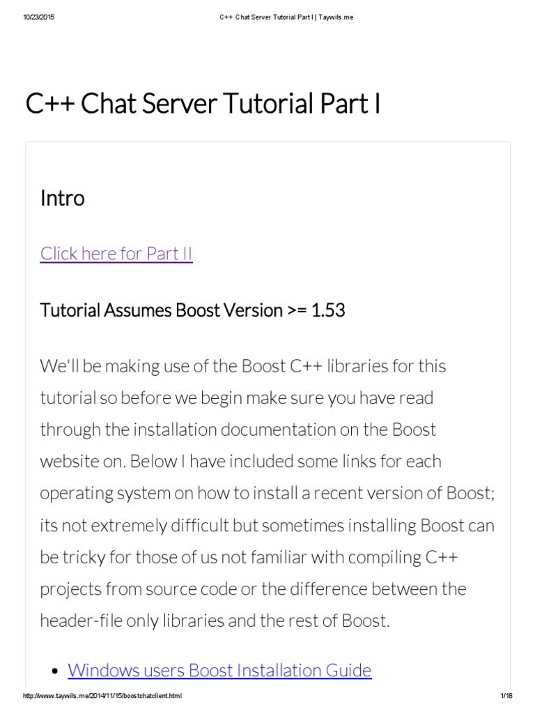 C++ Chat Server Tutorial Part I _ Taywils | Library (Computing