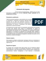 Información del programa Project