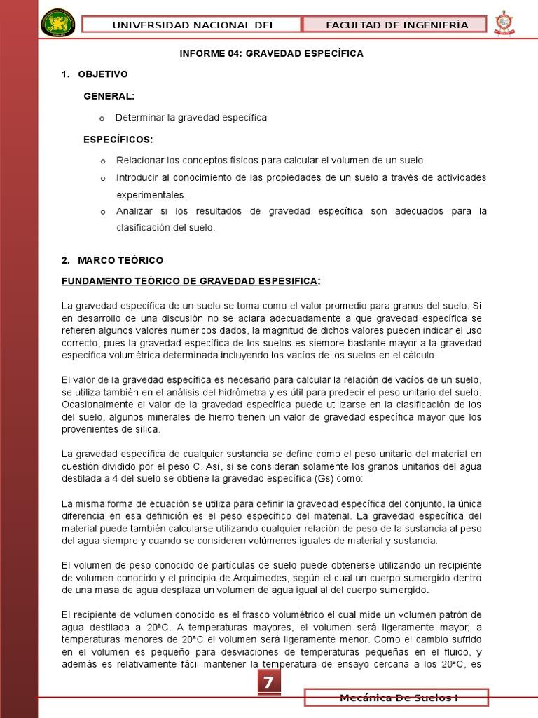 Informe 04 Gravedad Especifica