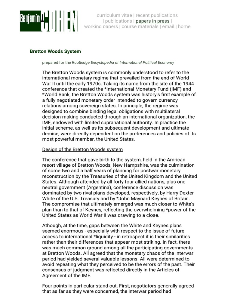 Benjamin j cohen bretton woods system bretton woods system benjamin j cohen bretton woods system bretton woods system fixed exchange rate system platinumwayz
